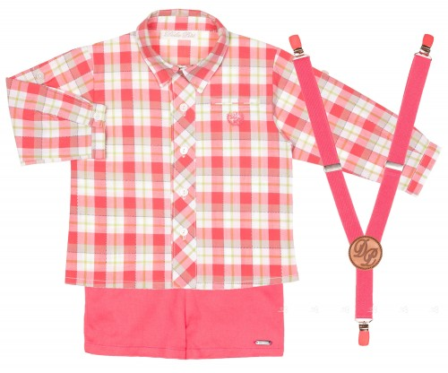 Conjunto Bebé Niño Camisa, Short & Tirantes Coral
