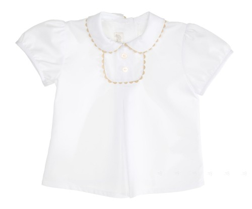 Camisa Cuello Bebé Blanco & Beige