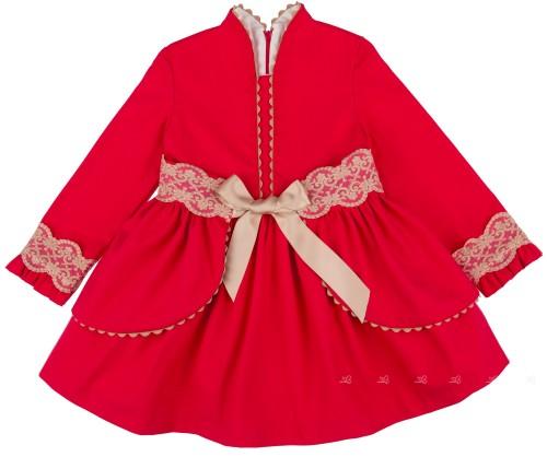 Nekenia Vestido Vuelo Fajín Desmontable Rojo & Puntilla Beige