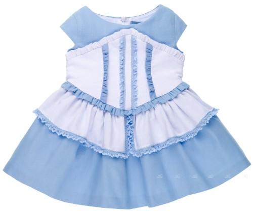 Nekenia Vestido Niña Corpiño Volantes Azul
