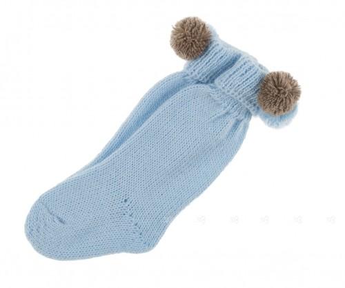 Calcetines pompones azul