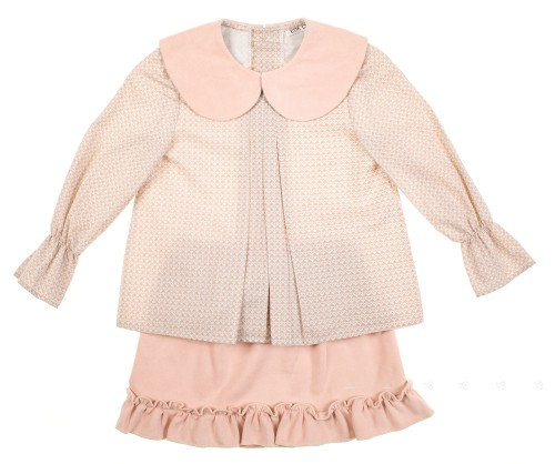 Conjunto Blusa & Falda Antelina rosa empolvado volantitos