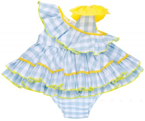 Nini Jesusito Bebé Vichy Azul Celeste Volante Cuello Asimétrico & Lazo Amarillo