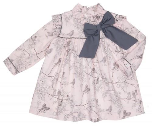 Vestido Estampado Pajaritos Rosa & Gris