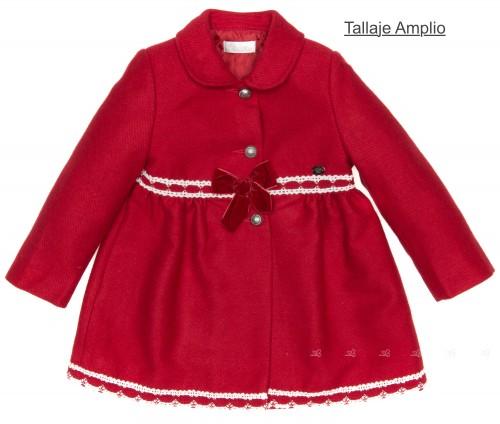 Abrigo Niña Talle Alto Paño & Puntilla Rojo