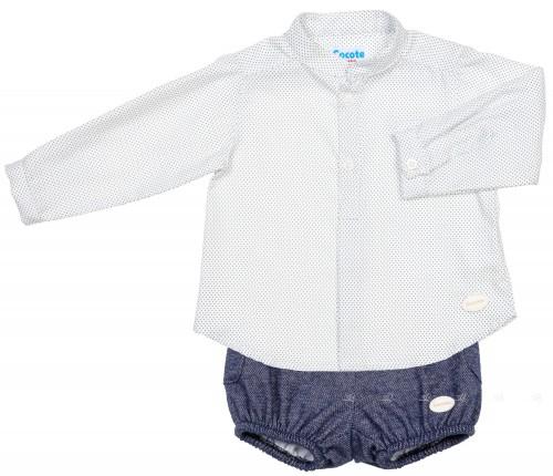 Cocote Conjunto Bebé Niño Camisa Topitos & Bombacho Marino