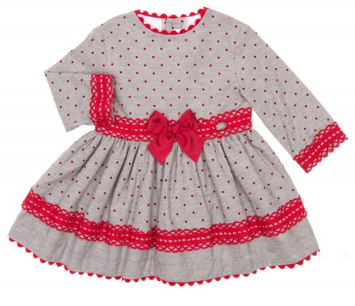Vestido Topitos Gris & Rojo
