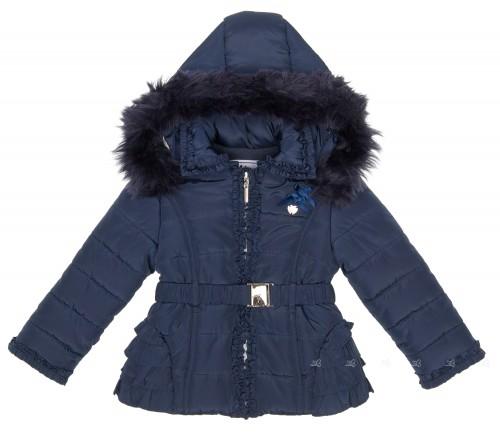 Abrigo Acolchado Forro Polar con Capucha & Volantes Espalda Azul Marino