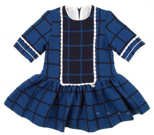 Vestido Vuelo Cuadros Azul Añil