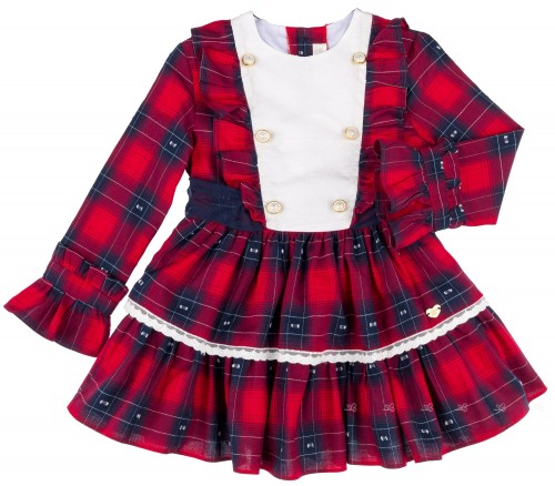Dolce Petit Vestido Niña Tartán Rojo & Lazo Tul Marino