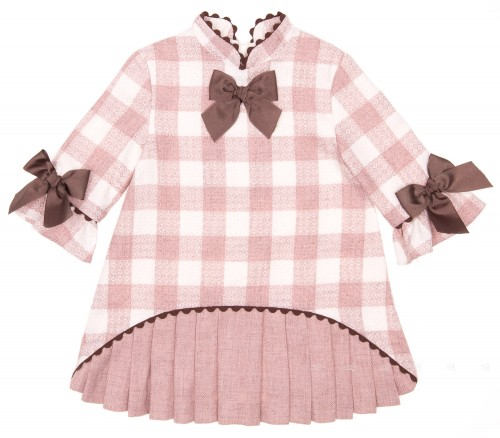 Vestido Cuadros & Plisado Rosa Palo