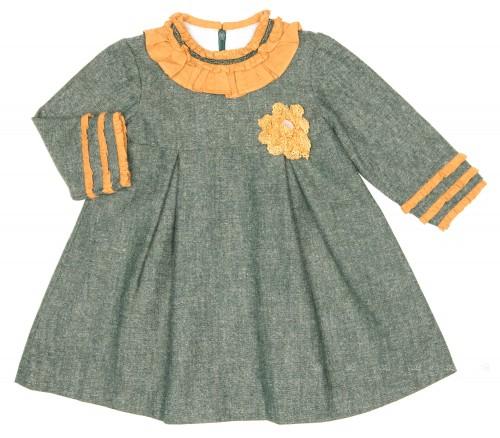 Vestido Tweed Verde & Mostaza Colección Irlanda