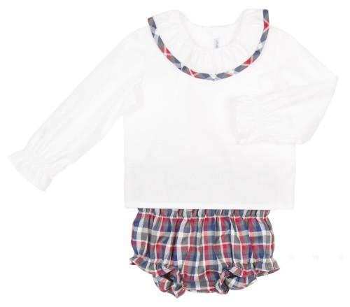 Conjunto Blusa Popelin Blanco & Short Cuadros