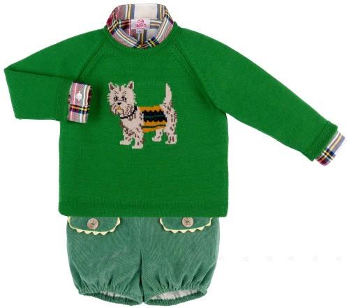 Eva Castro Conjunto Niño Camisa Jersey Perrito & Bombacho Verde Colección Gigi