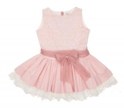 Vestido Rosa Empolvado Falda Volante & Espalda Guipur