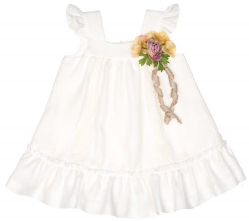 Vestido Panamá Bordado Blanco & Broche Flor