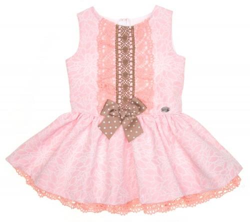 Vestido Brocado Rosa con Falda Volante & Puntilla