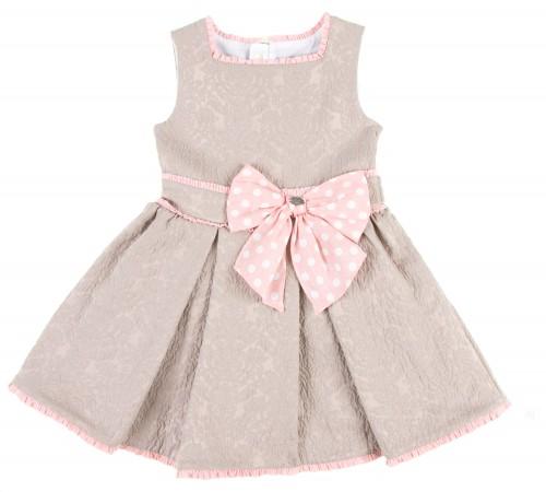 Vestido Estructurado Jacquard Beige & Rosa Empolvado