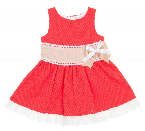 Vestido Coral & Beige