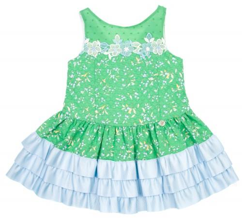 Vestido Floral Piqué Volantitos Verde & Celeste