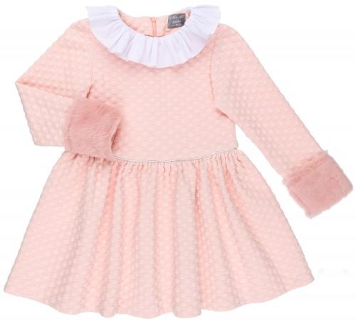 Mon Petit Bonbon Vestido Niña Lunares Rosa Empolvado & Puño Pelo Sintético