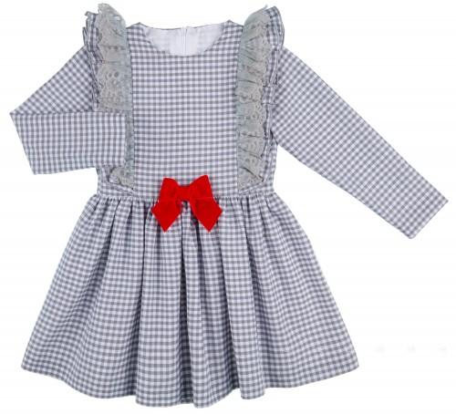 Mon Petit Bonbon Vestido Niña Vichy Gris & Lazo Terciopelo Rojo