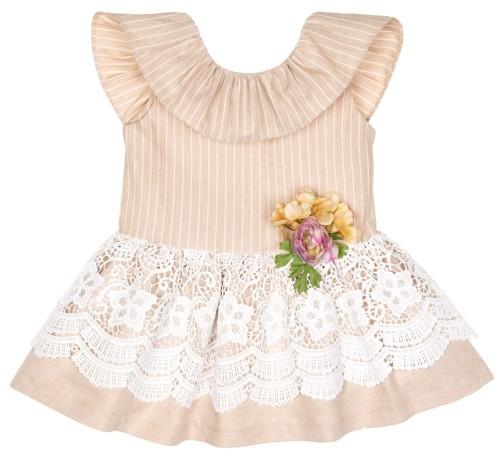 Vestido Panamá Rayas Piedra & Blanco con Broche Floral