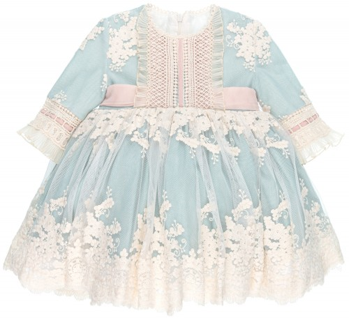 Conjunto Niña Vestido & Braguita Tul Bordado Azul Empolvad