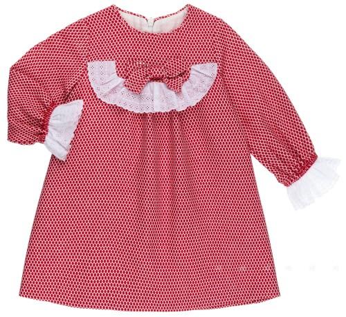 Rochy Vestido Bebé Lunares Rojo & Puntilla Bordada Blanca