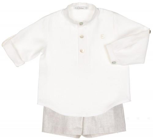 Conjunto Niño Camisa Crudo & Short Gris