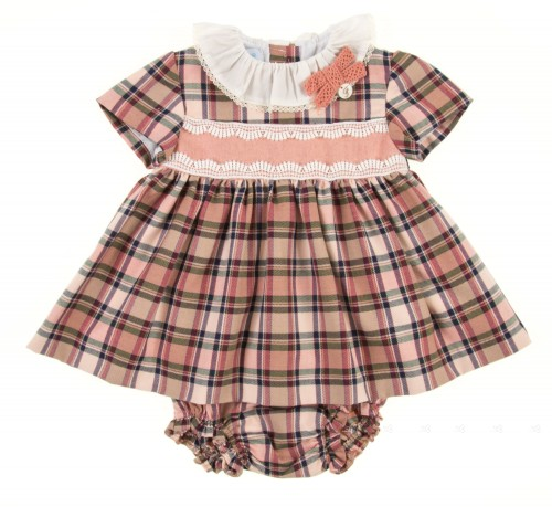 Conjunto vestido & braguita cuadro escocés rosa