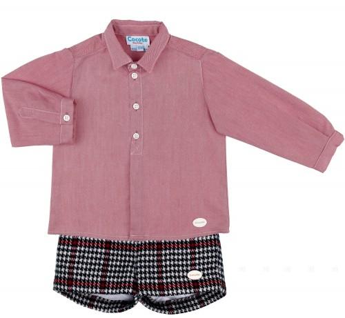 Cocote Conjunto Niño Camisa Roja & Short Cuadros Marino & Rojo
