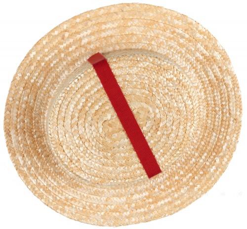 Rochy Sombrero Niña Beige & Cinta Grosgrain Rojo