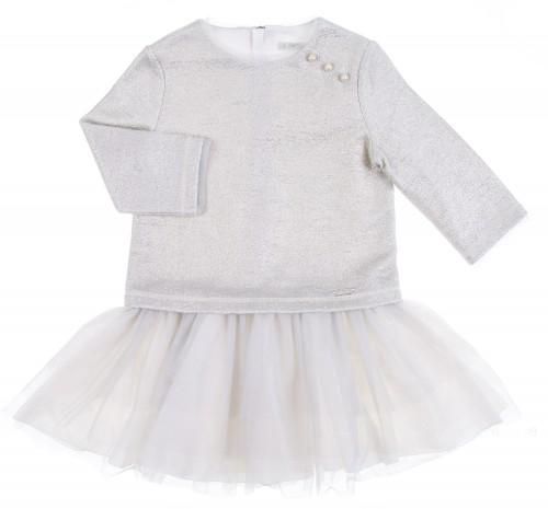 Vestido Plata con Falda Tul