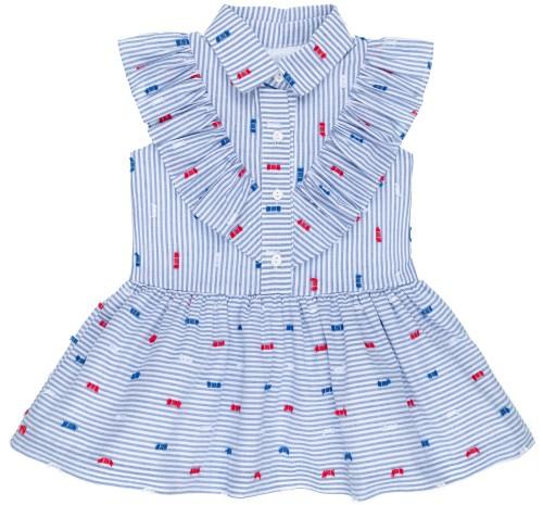 Rochy Vestido Niña Camisero Plumeti  Rayas Azul & Blanco