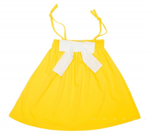 Vestido Baño Tirantes Amarillo & Lazo Plumeti
