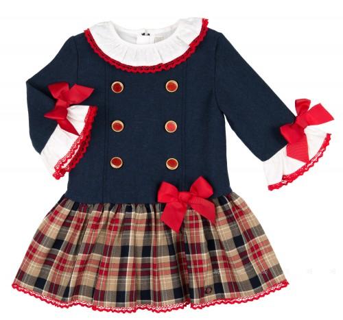 Vestido Marino Botones & Falda Cuadros