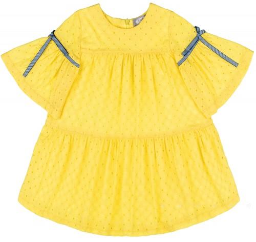 Rochy Vestido Niña Perforado Amarillo & Mangas Acampanadas