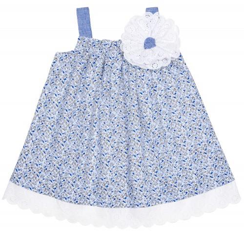 Vestido Floral Azulina & Puntilla Blanco