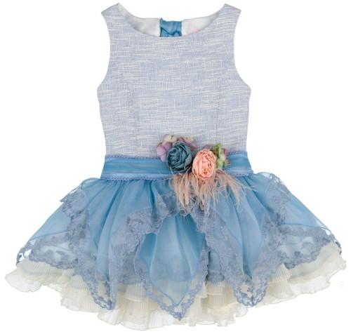Chari Sierra Vestido Niña Talle Bajo Azul Tul Bordado & Lazada Cuello