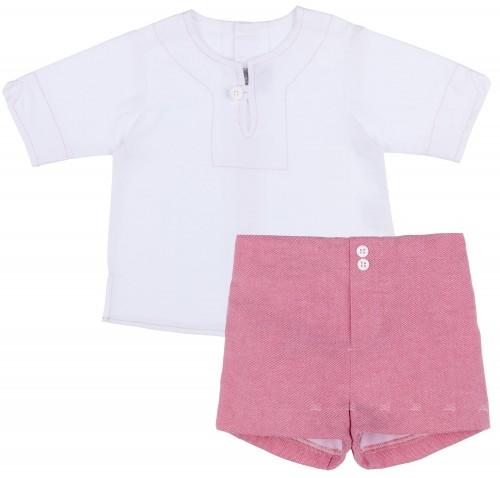 J.V Conjunto Niño Camisa Lino Blanco & Short Rosa
