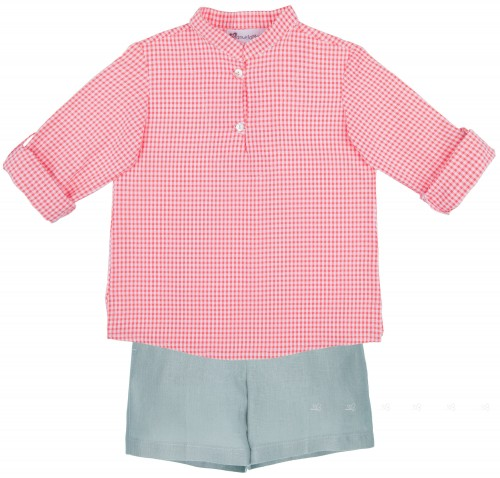 Manuela Montero Conjunto Niño Camisa Vichy Coral & Short Verde Hoja
