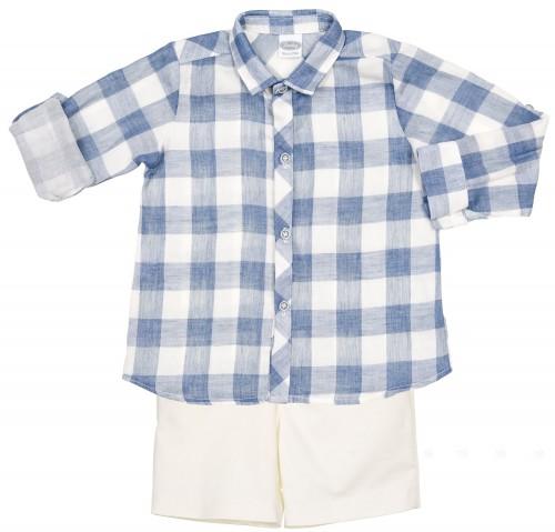 Conjunto Niño Camisa Cuadros Vichy Azul & Short Crudo