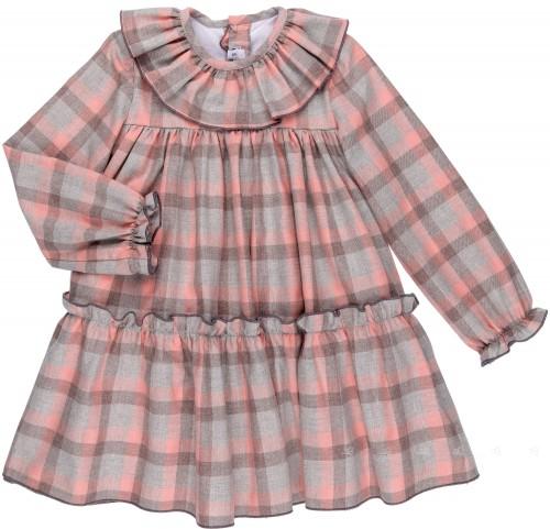 MonKids Vestido Niña Cuadros Gris & Rosa Colección Pink Lady