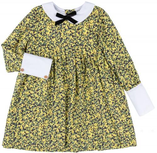 estido Niña Camisero Estampado Floral Amarillo & Negro