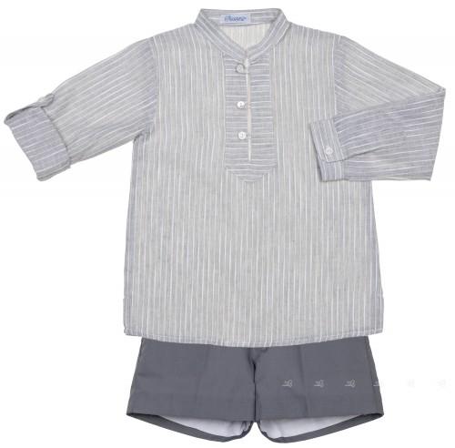 Ancar Conjunto Niño Camisa Rayas & Short Gris