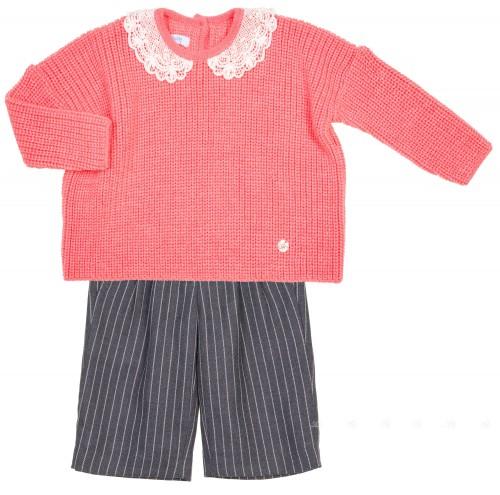 Conjunto Niña Maxi Jersey Punto Perlado Rosa & Pantalón Culotte Rayas Gris