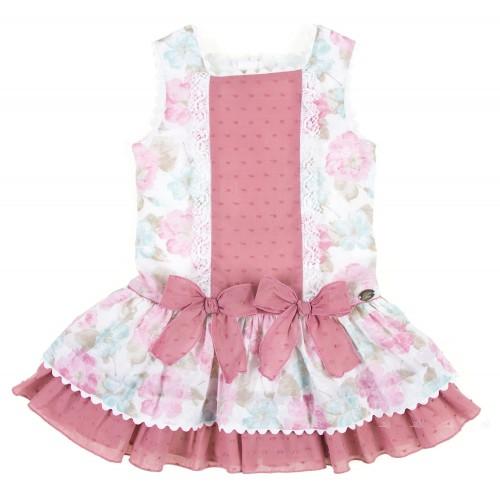 Vestido Plumeti Estampado Floral Tonos Pastel & Lazos