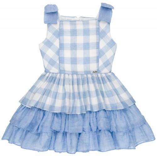 Vestido Niña Algodón Vichy Azul & Volantes
