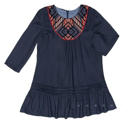 Vestido Emma Azul Canesú Bordado Étnico & Bajo Volantes